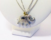 SALE Vintage Silver and Gold Elephant Pendant Necklace, Jewelry