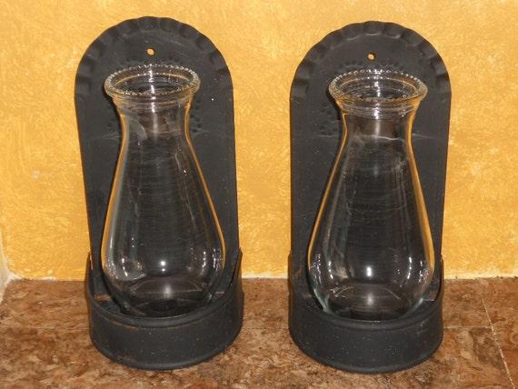 Vintage primitive punched tin metal hanging candle - Punched metal candle holder ...