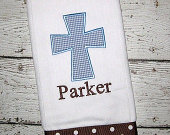 Monogrammed Cross Burp Cloth for Baby Boy - Personalized