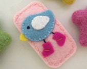 NO SLIP Wool felt hair clip -Chick in boots -pale pink