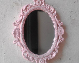 Vintage Pink Mirror in Miniature Oval Filigree Frame