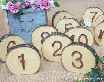 Engraved Table Number Log Slices, Rustic Wood Bark Country Wedding Decor