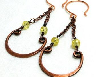 Chandelier Earrings, Handcrafted Jewelry, Chain Chandelier, Antiqued Copper Earrings, Yellow