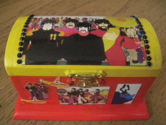 The Beatles Yellow Submarine Unique Hand Crafted Painted and Decoupaged Wood Keepsake Box