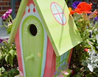 Hand Painted Birdhouse Whimsical Cottage