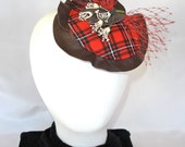 Red Plaid Fascinator with Vintage Floral and Silk Veiling