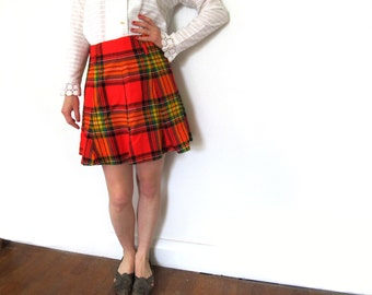 vintage skirt mod mini 60s plaid schoolgirl red high waisted womens clothing 1960s size m medium