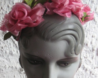 Fab Vintage 1950s 1960s Pink Roses Band Hat Flowers Spring Summer Hat WOW