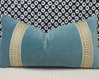 """Aqua velvet pillow cover - 13""""X20"""" with attached greek key trim in beige/ivory"""