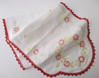 Shabby Chic white cotton DRESSER Scarf- red crocheted lace, flowers, embroidery