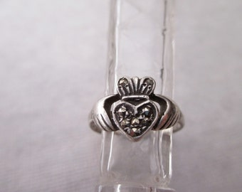 sterling Claddagh Ring with marcasites - Irish, Ireland, love, size 4.75