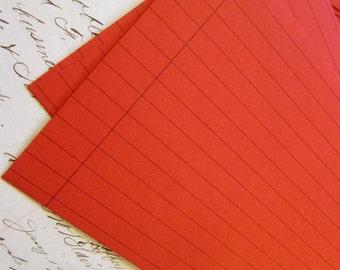 10 vintage RED RULED envelopes - stationary, valentine
