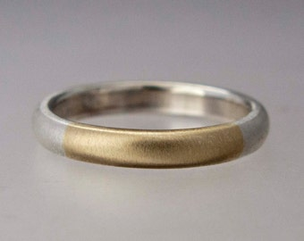 Two Tone Wedding Band  - Mens or Womens 14k Gold and Silver 3mm Comfort Fit Ring - Married Two Tone Band