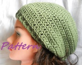 Crochet Pattern, Basic Slouchy Hat, Unisex, Men, Women, Adult Size, Beret, Tam, PDF