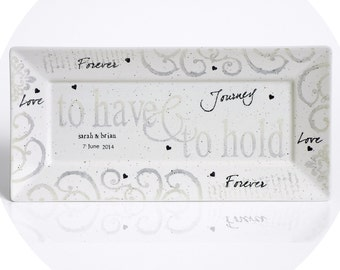 Personalized Wedding Pottery Have Hold Couple's Platter, Traditional Wedding Vow Plate Personalized w/Couple's Names, Ceramic Anniversary