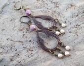SALE - Bohemian Romance - Teardrop Brass Chandelier Earrings with Rose and Ivory Czech glass, Gypsy earrings
