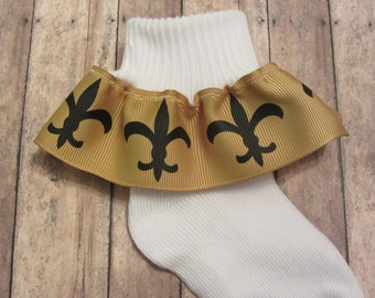 New Orleans Saints Inspired Fleur de Lis  Ribbon Ruffle Socks