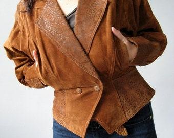 1980s Leopard Cheetah Print Sienna Brown Suede Motorcycle Jacket Coat