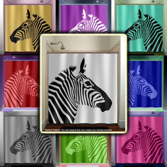 Stripe horse zebra shower curtain bathroom decor fabric kids for Zebra bathroom decor