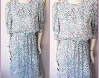 Vtg.80s Puff Sleeve Blue & Lilac Spring Floral Summer Dress.S/M.Bust up to 38.Waist 27-32.