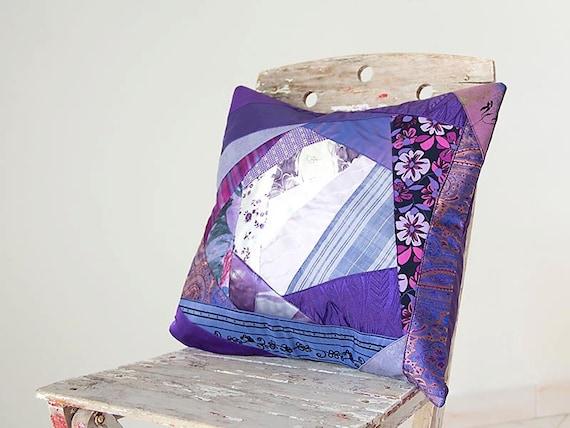 Purple lavender Pillow Cover Patchwork SALE
