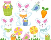 Hippity Hoppity Easter Bunny Cute Digital Clipart - Commercial Use Ok - Easter Graphics, Easter Clipart - Bunny Rabbit