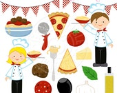 Italian Chef Kids Cute Digital Clipart - Commercial Use OK - Pizza Clipart, Chef Clipart, Italian Spaghetti Meatball, Chef Pizza Clip art