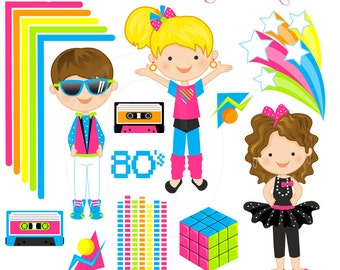 Totally 80s Cute Digital Clipart - Commercial Use OK - 80s Graphics, 80s Clipart, 80s Party Theme