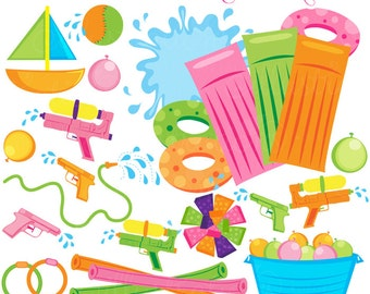 Water Toys Cute Clipart, Summer Swimming Pool Toys Graphics, Splash clip art, Water Balloons, Water Guns, Summer clip art, Pool Party