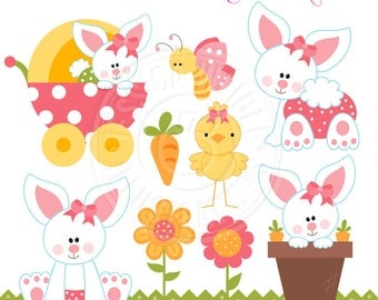 Baby Bunny Girls Cute Digital Clipart, Easter Bunny Clipart, Baby Bunny Rabbit, Easter Clip art, Easter Graphics, Easter Digital Download