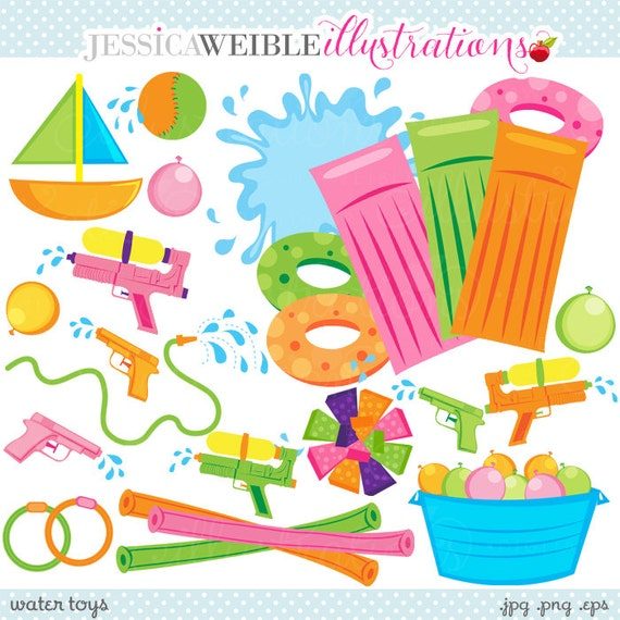 Water Toys Cute Clipart, Summer Swimming Pool Toys Graphics ...