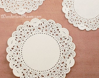 50 Romantic Ivy Lace Paper Doilies (4in) - White