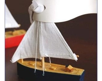 set of 30 Wooden Sailboat Place Card Holder Navy Red Wedding Bridal Shower Engagement Party Favor Box