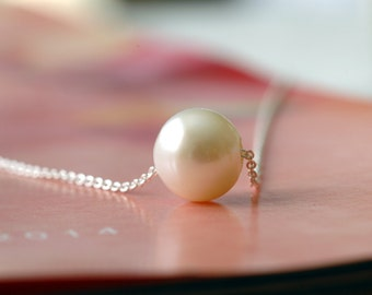 Floating Pearl Necklace for your Elegant Wedding Bridesmaids or Flower Girl