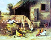Feeding Time in the Barnyard  Reproduction Print Downloadable, Printable, Digital Art Image - Instant Download