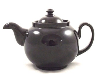 English Ceramic Teapot in Dark Brown, Vintage Rounded Style