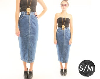 TARA 80s Solid Denim High Waisted Classic Brat Pack Tapered Autumn Hip Back to School Maxi Skirt Small