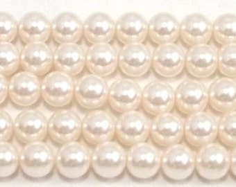 8mm Light Pink Glass Pearls - 1 strand