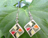Drunkards Path Patchwork Quilt Design Earrings