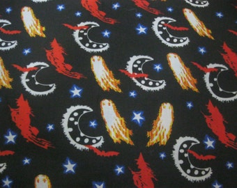 halloween Black Quilting Fabric, Which, Ghosts, Moon, Stars, Eery Bats