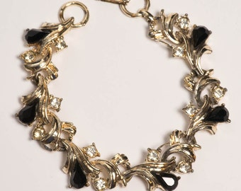Black Rhinestone Bracelet Vintage Black And Gold Bracelet
