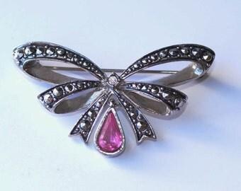 Pink Bow Pin Marcasite Rhinestone Bow Brooch Vintage Avon Pink Rhinestone Brooch
