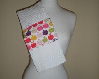 kitchen waffle weave  tea towel cottage chic retro multi coloured apple print. Ready to ship