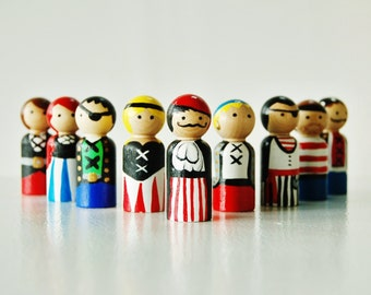 Merry Band Of Pirates - Set Of 10  Wooden Pirate Dolls - Peg Dolls - Unique Gift - Stocking Stuffer - Zooble Toy