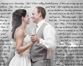 First Anniversary Personalized Custom Canvas Wall Art Using Your Vows, Lyrics Or Poem - 16x24