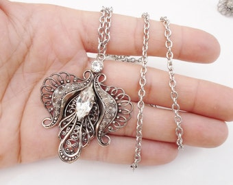 ornate silver and rhinestone necklace pendant with or w/out chain