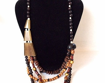 Asymmetrical wooden necklace geometric wood beads retro jewelry vintage necklace handmade