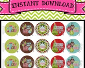"Teal & Brown Christmas Sayings - INSTANT DOWNLOAD 1"" Bottle Cap Images 4x6 - 552"