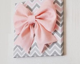 """Large Light Pink Bow on Pink and Gray and White Chevron 12 x12"""" Canvas Wall Art- Baby Nursery Wall Decor- Zig Zag"""