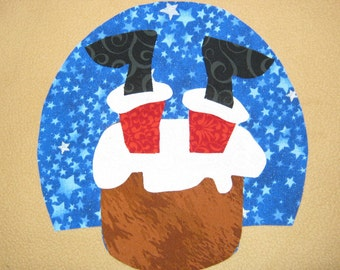 Handmade Applique Christmas - Santa's Stuck in the Chimney - Iron on Sew on